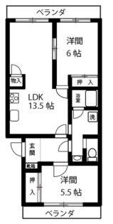 サンライトハイム【2LDK】間取図