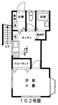 パークサイド【1DK】間取図1階