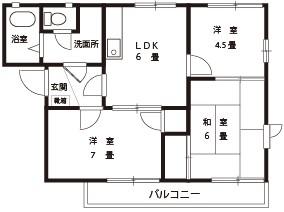 シルキーウインドA棟【3DK】間取図